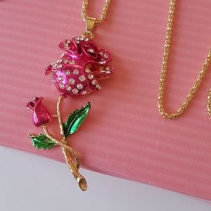 NEW BJ Necklace Rose with Crystal Pendant Chain